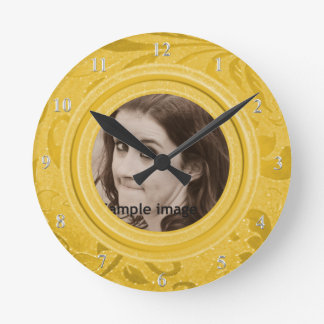DIY crean su propia foto personalizada oro Reloj Redondo Mediano
