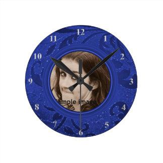 DIY hacen su propia foto personalizada del azul Reloj Redondo Mediano