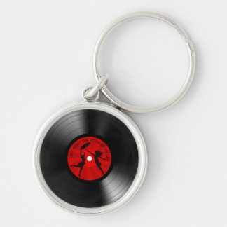 DJ ahorró anoche mi negro del disco de vinilo de Llavero Redondo Plateado