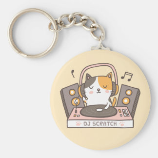DJ lindo rasguña llavero del retruécano del gato
