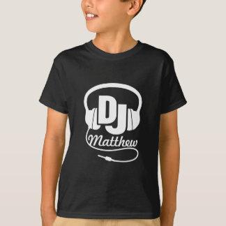 DJ su blanco del nombre en negro embroma la Camiseta