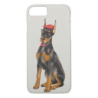 Doberman de la cadera (color de fondo Editable) Funda Para iPhone 8/7