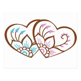 Doble del corazón de la alheña postal