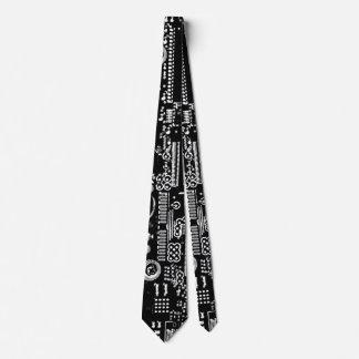 Dobles blancos y negros del lazo del circuito 2 corbata