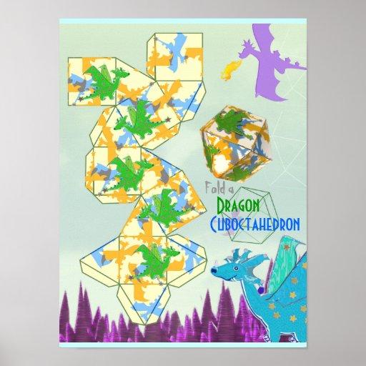 Doblez del modelo de los dragones un Cuboctahedron Posters