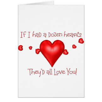 Docena tarjetas de felicitación de los corazones