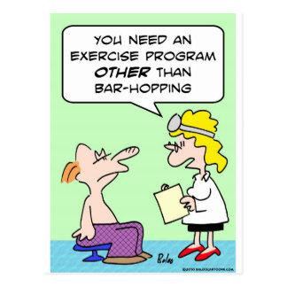 doctor del ejercicio de la lupulización de la barr postales