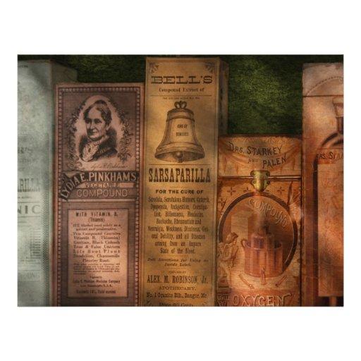 Doctor - extractos y zarzaparrilla del compuesto tarjetas informativas