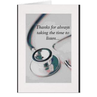doctor, gracias por siempre llevar el tiempo el tarjeta