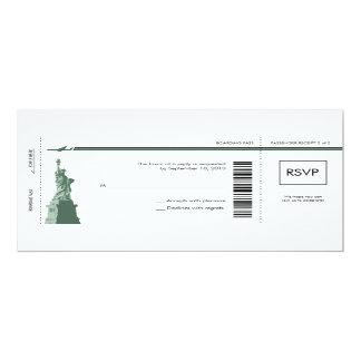 Documento de embarque de Nueva York que casa RSVP Invitación 10,1 X 23,5 Cm