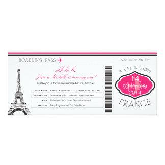 Documento de embarque del cumpleaños a París Invitación 10,1 X 23,5 Cm