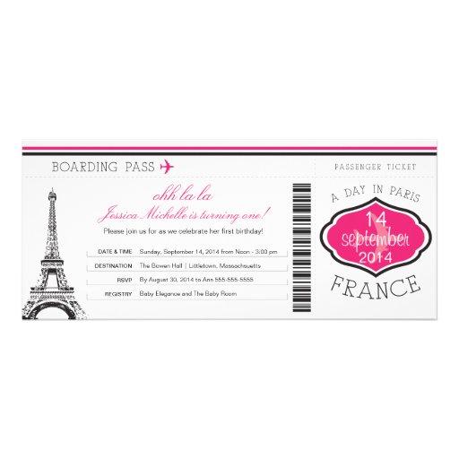Documento de embarque del cumpleaños a París Comunicado Personalizado