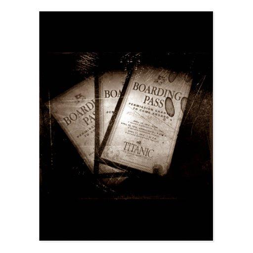 Documentos de embarque titánicos del RMS Tarjetas Postales