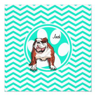 Dogo; Aguamarina Chevron verde Invitación 13,3 Cm X 13,3cm