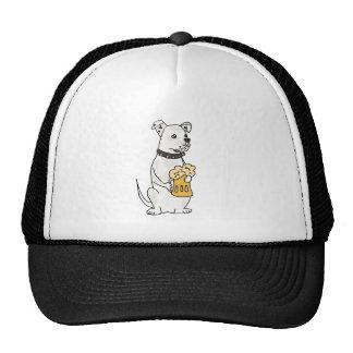 Dogo americano blanco de la diversión con la gorras de camionero