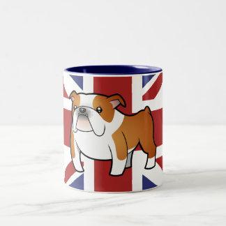 Dogo del inglés del dibujo animado de Union Jack Taza De Dos Tonos