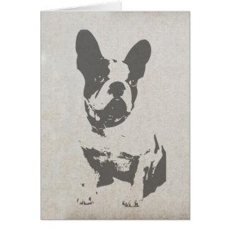 dogo francés de la impresión en textura del tarjeta de felicitación