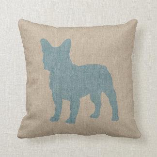 Dogo francés en azul en la mirada de lino cojín decorativo