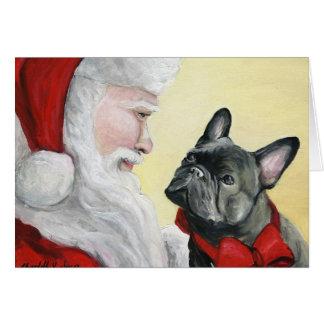 """""""Dogo francés en tarjeta de Navidad del"""
