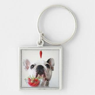Dogo francés que mira una pimienta roja llavero cuadrado plateado