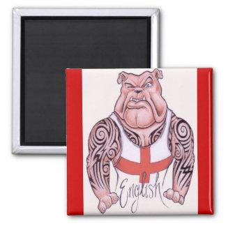 Dogo inglés con el tatuaje tribal imán cuadrado