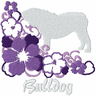 Dogo púrpura del inglés del hibisco sudadera bordada con cremallera de mujer