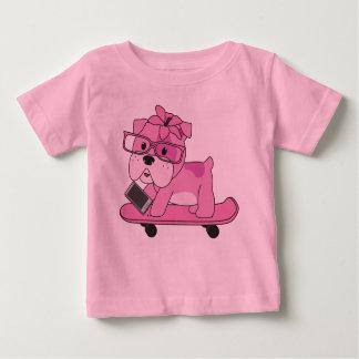Dogo rosado del inconformista camiseta de bebé