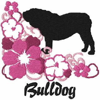 Dogo rosado del inglés del hibisco sudadera bordada encapuchada