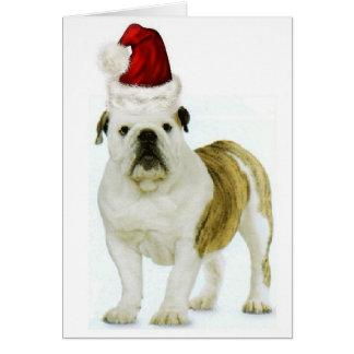 Dogs~Original Ditzy Notecard~Bulldog~Christmas Tarjeta De Felicitación