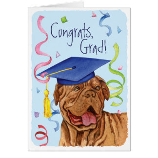 Dogue de Bordeaux Graduate Tarjeta De Felicitación