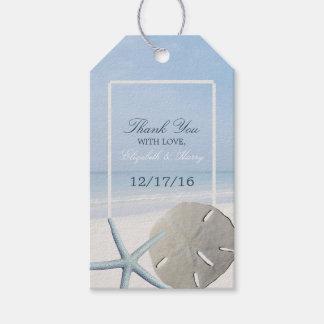 Dólar de arena y boda de playa de las estrellas de etiquetas para regalos