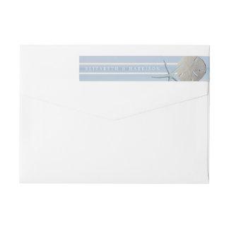 Dólar de arena y boda de playa de las estrellas de etiquetas postales