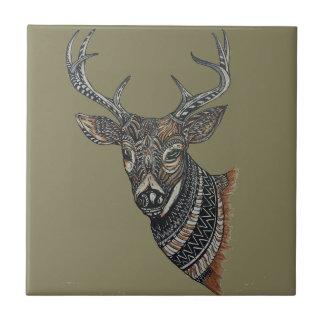 Dólar de los ciervos con diseño complejo azulejo cuadrado pequeño