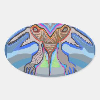 DOMUHAA CHAAL - Monstruo del extranjero del lechón Pegatinas Ovaladas