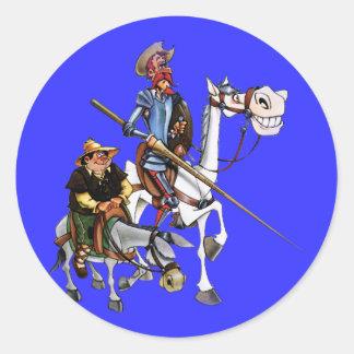 DON QUIJOTE, SANCHO, ROCINANTE y RUCIO - Cervantes Pegatina Redonda