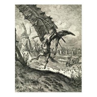 Don Quijote y los molinoes de viento Postal