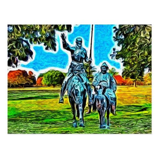 Don Quijote y Sancho Panza a caballo Postal