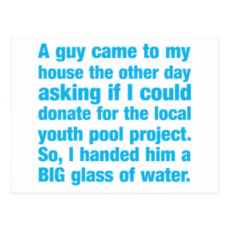 Donación del proyecto de la piscina de la juventud tarjeta postal