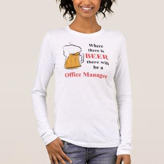 Donde hay cerveza - administrador de oficinas camiseta de manga larga