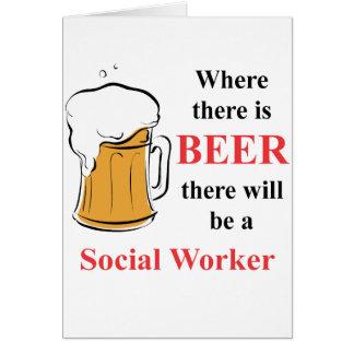 Donde hay cerveza - asistente social tarjeta pequeña