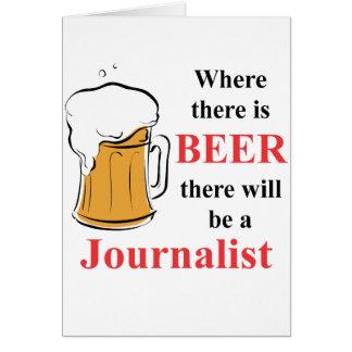 Donde hay cerveza - periodista tarjeta pequeña