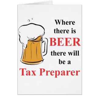 Donde hay cerveza - preparador de impuesto tarjeta pequeña