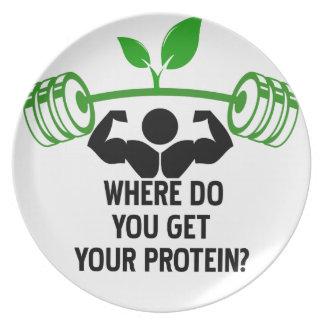 Donde usted consigue su proteína plato