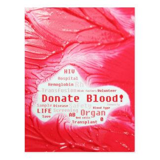 Done el diseño de concepto de la sangre tarjetas postales