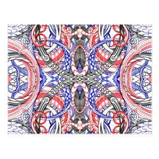 Doodle blanco rojo abstracto dibujado mano del postal