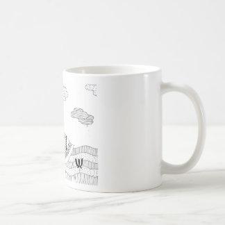 Doodle blanco y negro del cisne taza de café