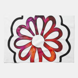 Doodle caprichoso del flower power paño de cocina