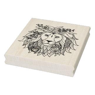 Doodle del león y de las flores sello de caucho