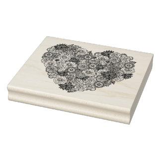 Doodle floral del corazón sello de caucho