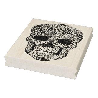 Doodle floral del cráneo sello de caucho